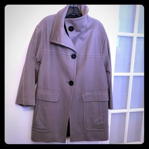 Zara 100% wool car coat in neutral taupe